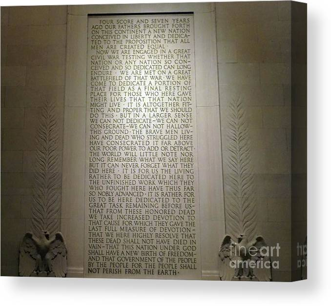 Gettysburg Canvas Print featuring the photograph Gettysburg Address Inscribed On A Wall Of The Lincoln Memorial by American School