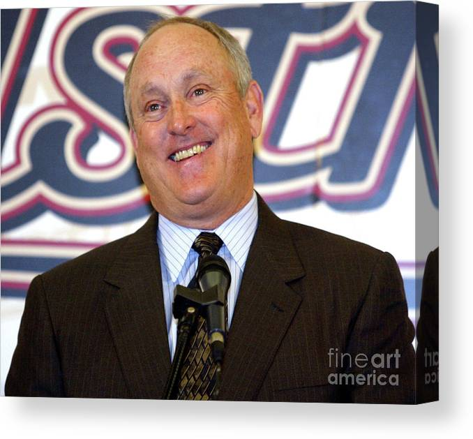 Sport Canvas Print featuring the photograph Houston Astros Sign Nolan Ryan To by Bob Levey