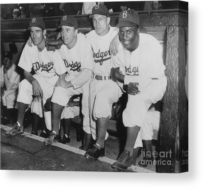 People Canvas Print featuring the photograph Jackie Robinson And Pee Wee Reese by National Baseball Hall Of Fame Library