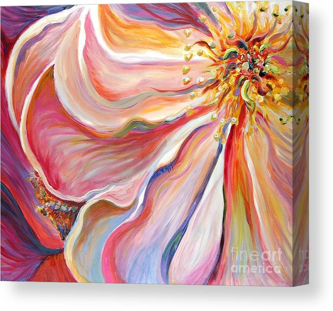 Pink Poppy Canvas Print featuring the painting Pink Poppy by Nadine Rippelmeyer
