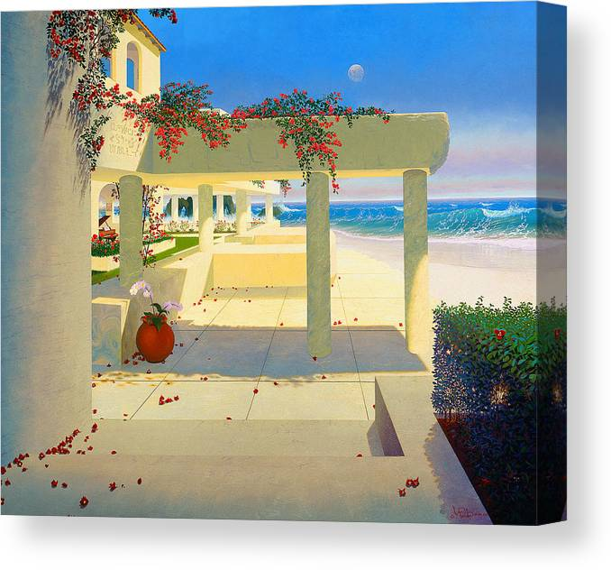 Patio By The Shore Canvas Print featuring the painting Telos Mu Mural From The Accelerated Evolution Series by Loren Adams