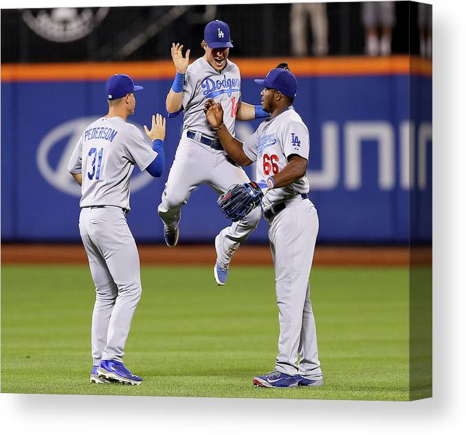 People Canvas Print featuring the photograph Yasiel Puig And Joc Pederson by Elsa