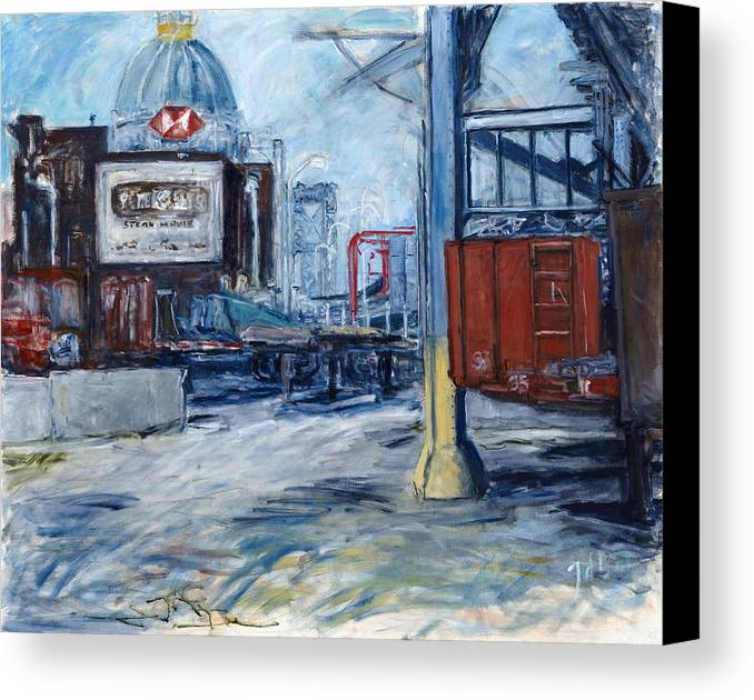 Cityscape Industrial New York Canvas Print featuring the painting Williamsburg1 by Joan De Bot