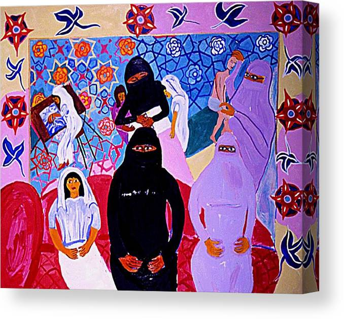 Family Portrait Of A Pakistani Doctor With Her Children Canvas Print featuring the drawing Asma by Nina Talbot
