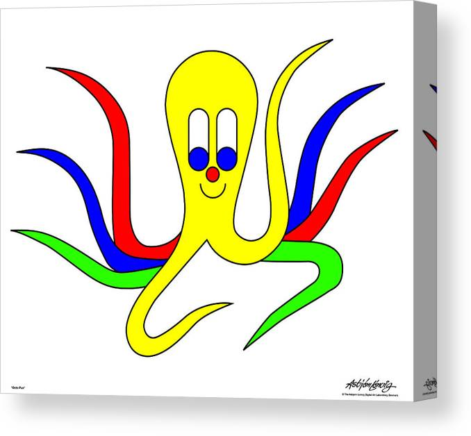 Canvas Print featuring the digital art Octo-pus The Cuttlefish by Asbjorn Lonvig