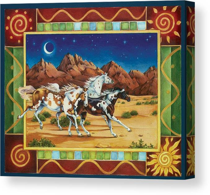 Horses Canvas Print featuring the painting Three To Midnight by Eden Alvernaz