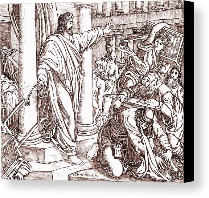Religious Canvas Print featuring the drawing Jesus Cleansing The Temple by Norma Boeckler
