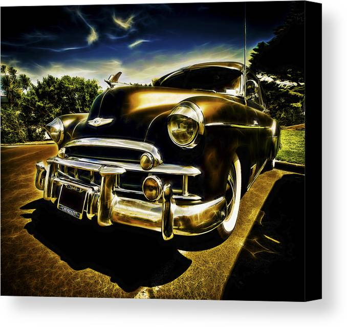 Custom Chevy Canvas Print featuring the photograph 1949 Chevrolet Deluxe Coupe by motography aka Phil Clark