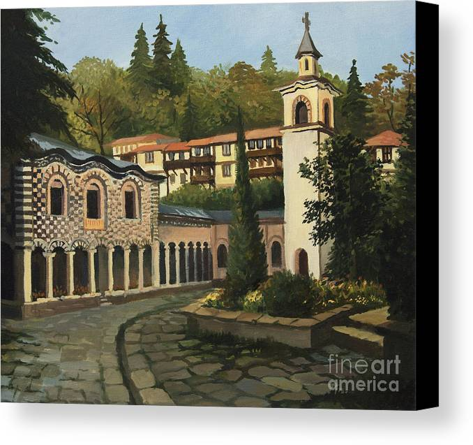 Arch Canvas Print featuring the painting Church In Blagoevgrad by Kiril Stanchev
