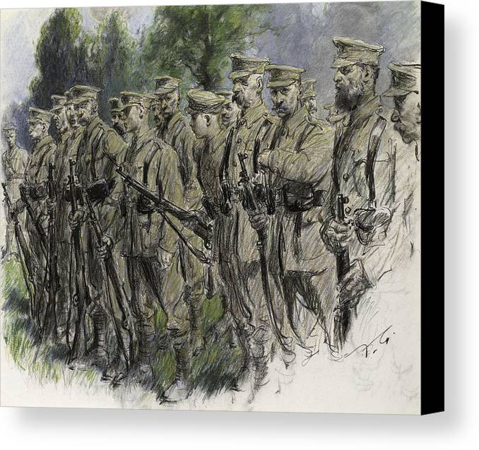 Soldier Canvas Print featuring the pastel Fall In Norfolk Volunteers by Frank Gillett