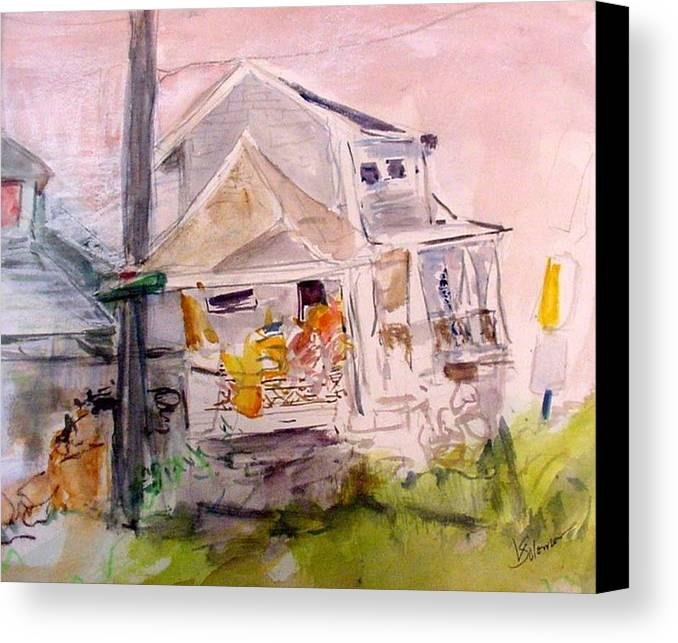 Landscape Canvas Print featuring the painting Fisher House 2 by Linda Solomon