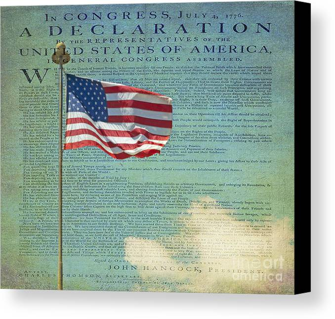 Declaration Of Independence Canvas Print featuring the photograph Flag - Declaration Of Independence - Luther Fine Art by Luther Fine Art