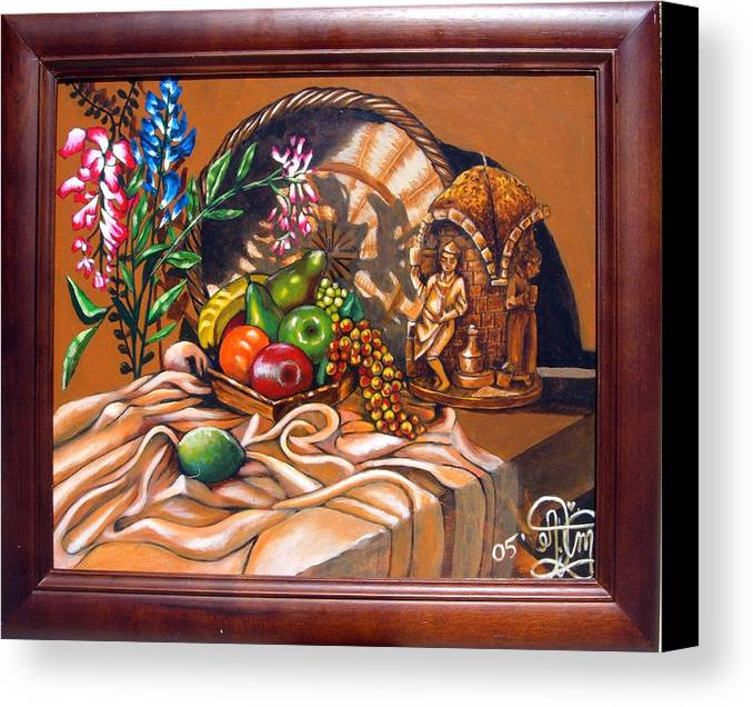 Plastic Fruits And Flowers Canvas Print featuring the painting German Candle Still by Annette Jimerson