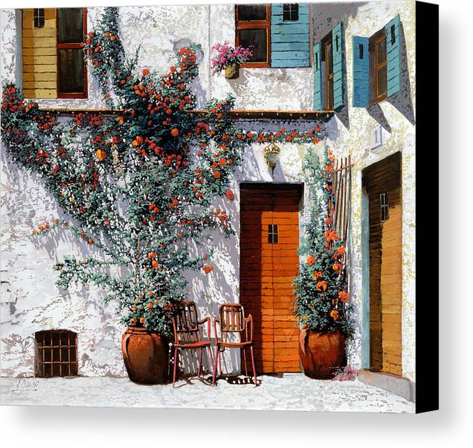 Courtyard Canvas Print featuring the painting Il Cortile Bianco by Guido Borelli