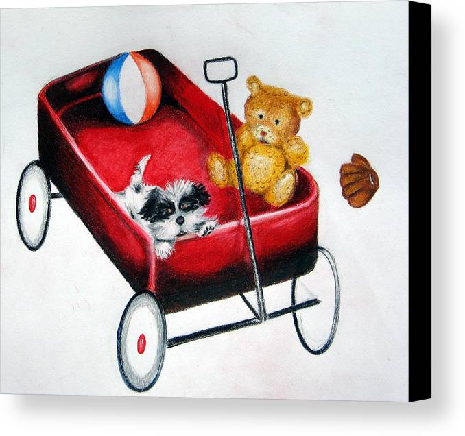Kids Canvas Print featuring the drawing Let's Play by Kori Vincent