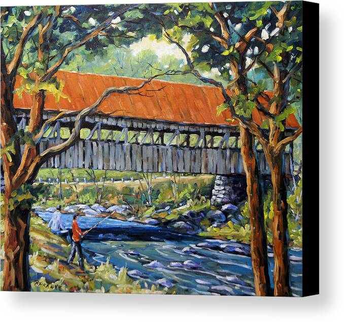 Landscape Canvas Print featuring the painting New England Covered Bridge By Prankearts by Richard T Pranke