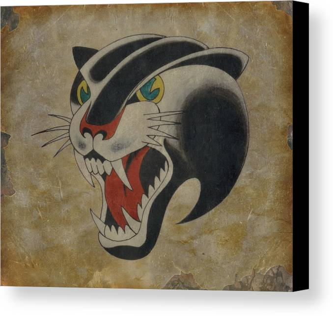 Tattoo Canvas Print featuring the painting Traditional Tattoo Panther by Larry Mora
