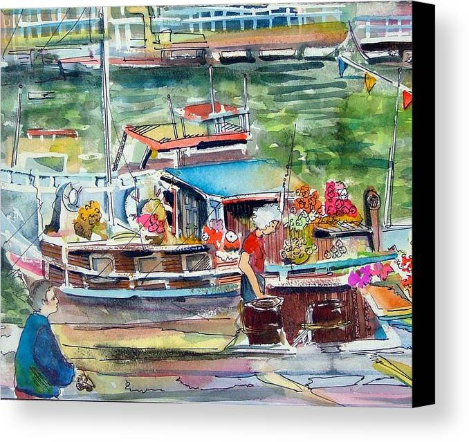 Boat Canvas Print featuring the painting Paris House Boat by Mindy Newman