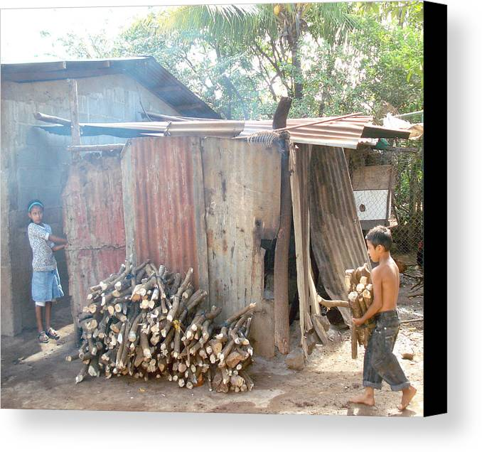 Nicaragua Canvas Print featuring the photograph Piling Wood by Skarleth