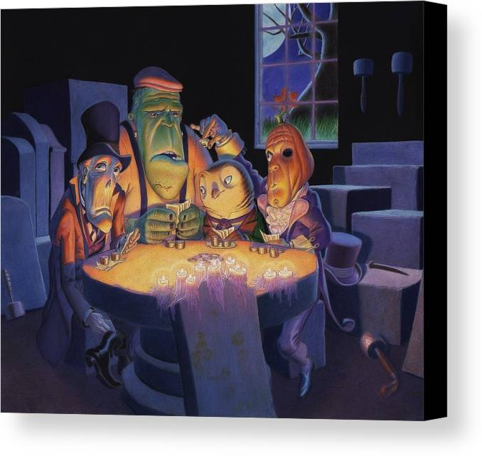Halloween Canvas Print featuring the painting Poker Buddies by Richard Moore