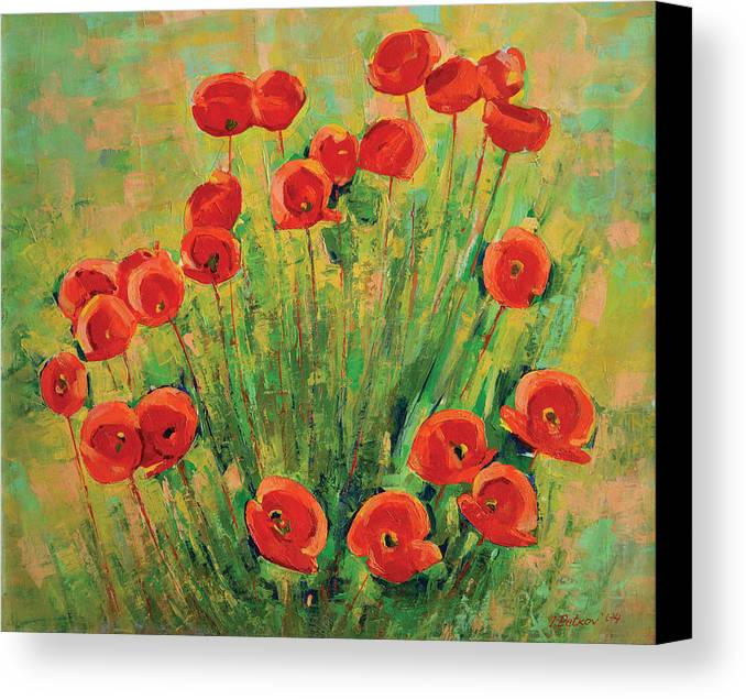 Poppies Canvas Print featuring the painting Poppies by Iliyan Bozhanov