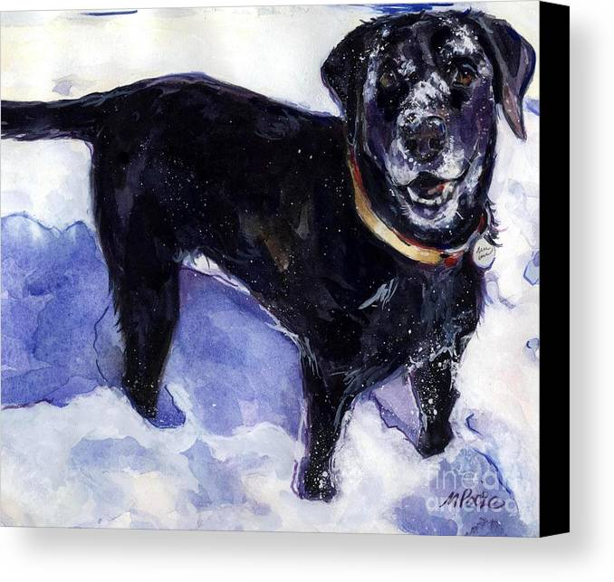 Black Dog Canvas Print featuring the painting Snow Belle by Molly Poole