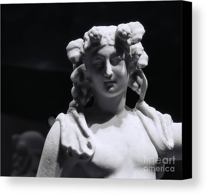 Pompeii Canvas Print featuring the photograph Statue Of Dionysus by Catherine Fenner