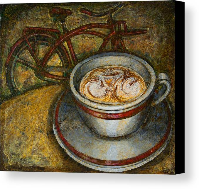 Coffee Canvas Print featuring the painting Still Life With Red Cruiser Bike by Mark Jones