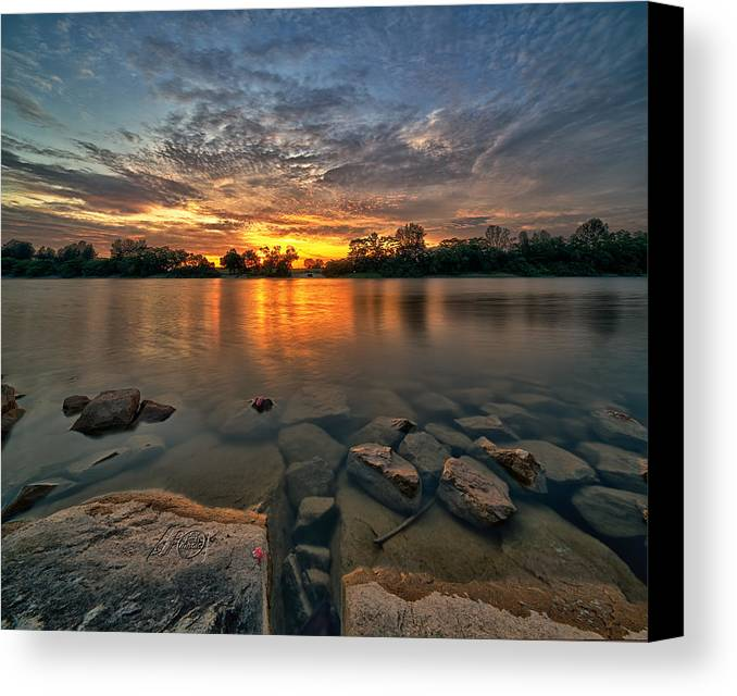 Landscape Canvas Print featuring the photograph Sunset Glow by Partha Roy
