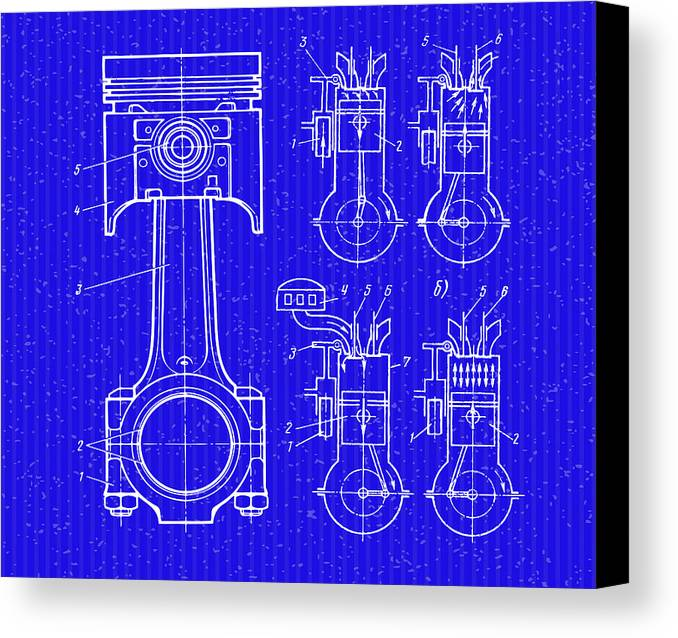 The piston blueprint canvas print canvas art by don kuing cat canvas print featuring the digital art the piston blueprint by don kuing malvernweather Images