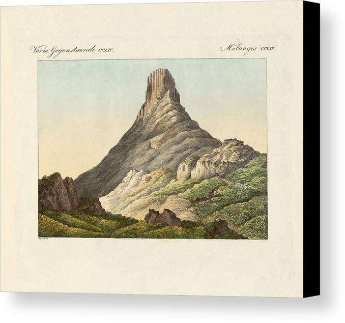 Bertuch Canvas Print featuring the drawing The Skuir On The Egg Island by Splendid Art Prints