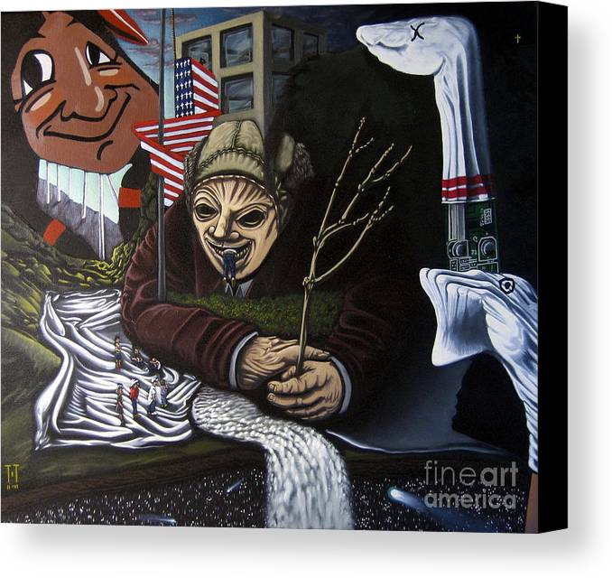 Surreal Canvas Print featuring the painting The Valley Heir Vs. The Vagabonds Of The Universe by Mack Galixtar