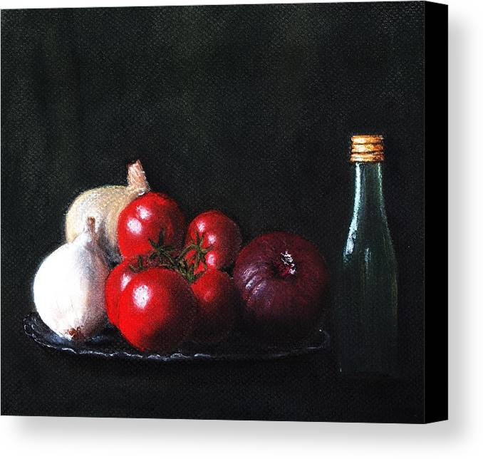 Dish Canvas Print featuring the painting Tomatoes And Onions by Anastasiya Malakhova