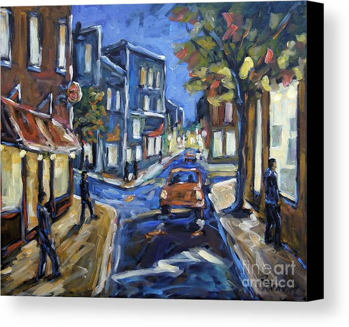 Canadian Rural Scene Created By Richard T Pranke Canvas Print featuring the painting Urban Avenue By Prankearts by Richard T Pranke
