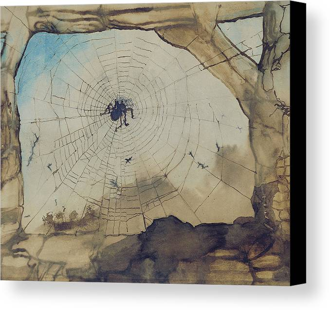 Spider Canvas Print featuring the painting Vianden Through A Spider's Web by Victor Hugo