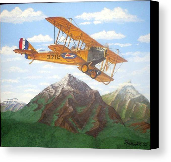 Landscape Canvas Print featuring the painting 1917 Curtis Jenny Jn4 Used By The Army Air Corps by Mickael Bruce