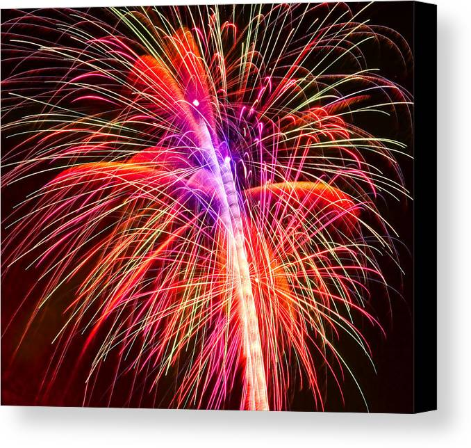 United Canvas Print featuring the photograph 4th Of July - Independence Day Fireworks by Gordon Dean II