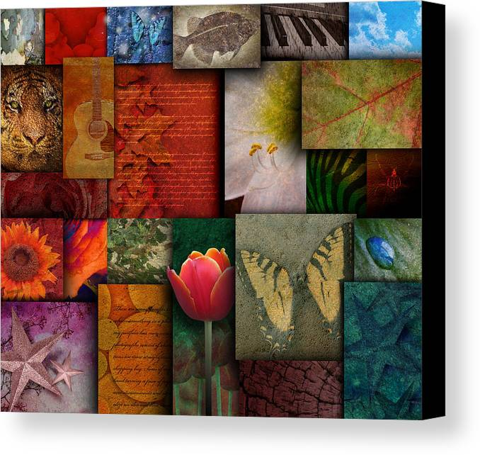 Abstract Canvas Print featuring the photograph Mosaic Earth Tone Nature Rough Patterns by Angela Waye