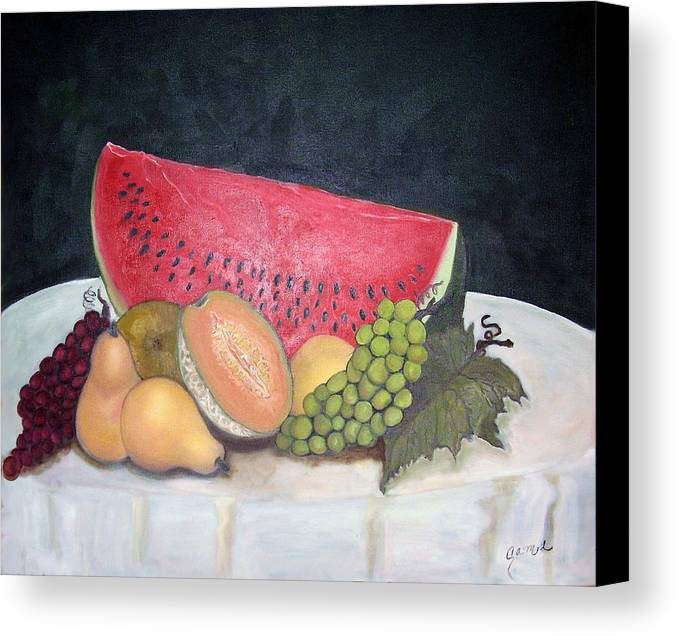 Watermelon Canvas Print featuring the painting Sandia Con Frutas by Veronica Zimmerman
