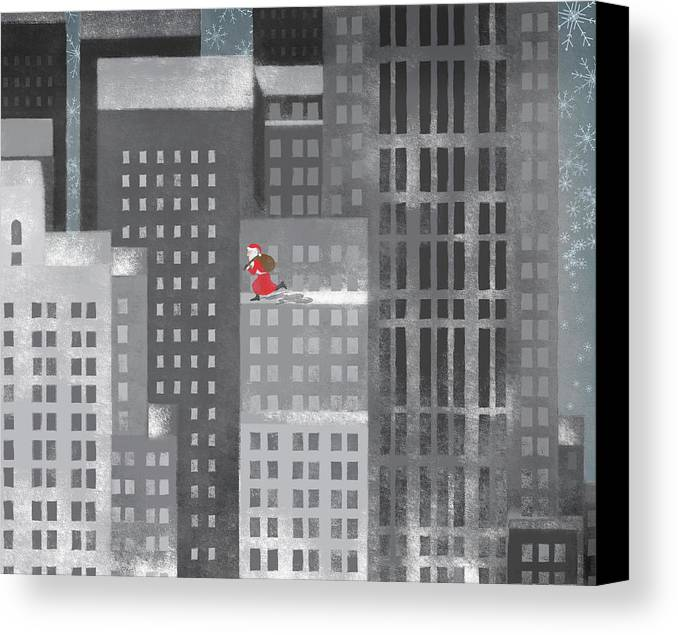 Horizontal Canvas Print featuring the digital art Santa Clause Running On A Skyscraper by Jutta Kuss