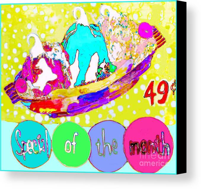 Ice Cream Canvas Print featuring the mixed media Special Of The Month by Beth Saffer