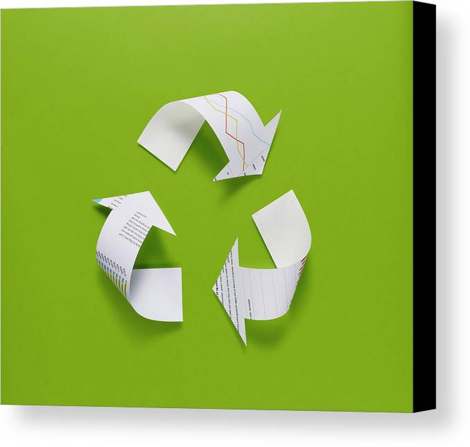 Horizontal Canvas Print featuring the photograph The Recycling Mark Made From The Data Of Paper by D-base