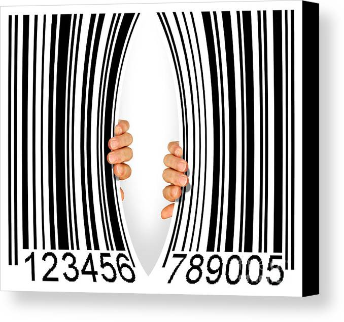 Addiction Canvas Print featuring the photograph Torn Bar Code by Carlos Caetano