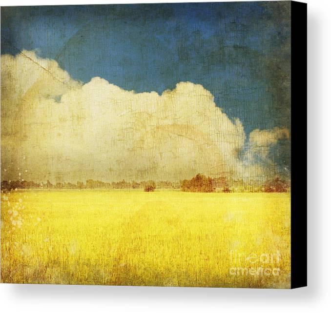 Abstract Canvas Print featuring the photograph Yellow Field by Setsiri Silapasuwanchai