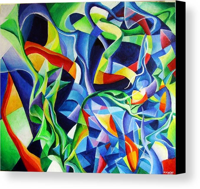 Claude Debussy Acrylic Abstract Pens Music Canvas Print featuring the painting La Mer by Wolfgang Schweizer