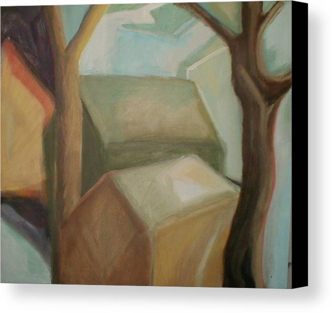 Suburban Canvas Print featuring the painting Abstract Backyard by Ron Erickson