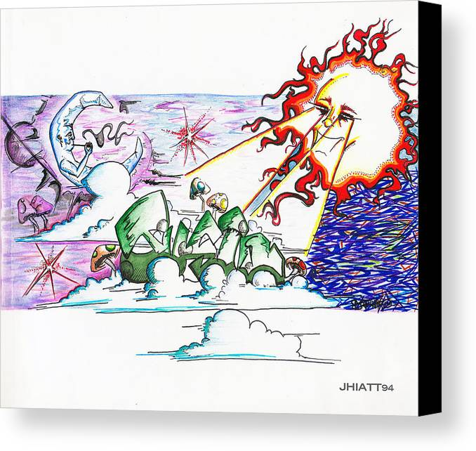 Sun Canvas Print featuring the drawing Abstract Celestial by Justin Hiatt