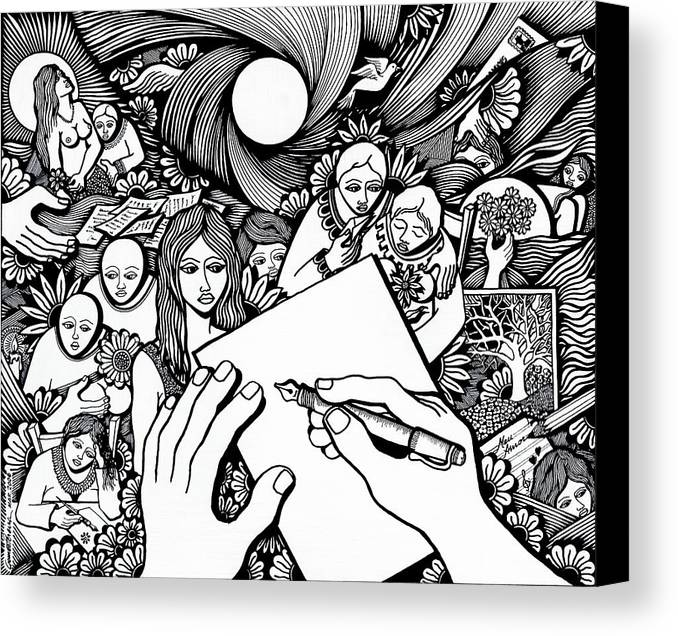 Drawing Canvas Print featuring the drawing All Love Letters Are Ridiculous by Jose Alberto Gomes Pereira
