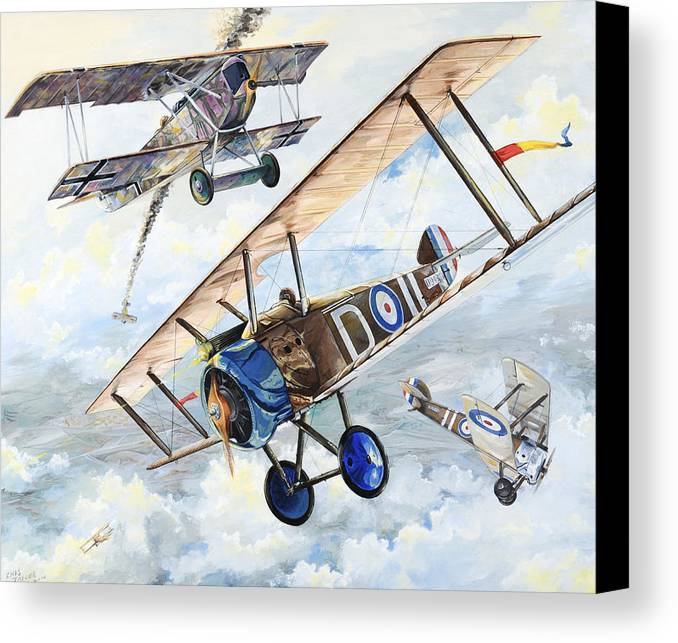 Aircraft Canvas Print featuring the painting American Camel by Charles Taylor