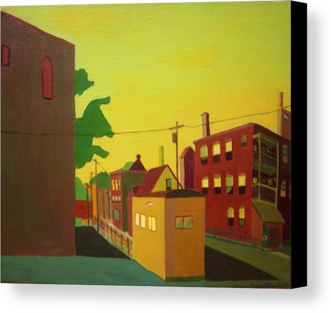 Jamaica Plain Canvas Print featuring the painting Amory Street Jamaica Plain by Debra Bretton Robinson